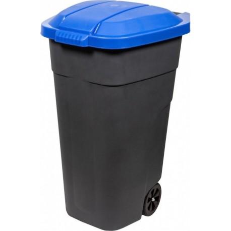 Бак для раздельного сбора мусора с крышкой на колесах 110л синий