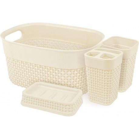 Набор для ванной комнаты OSLO Optima 4 предметов молочный