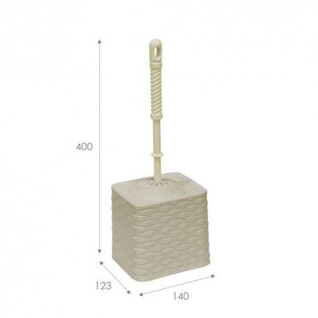 Набор для WC (ёрш+подставка) квадратный Ротанг (латте)