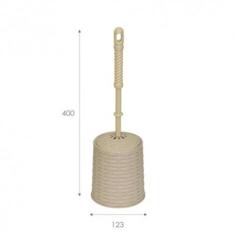 Набор для WC (ёрш+подставка) круглый Ротанг (латте)