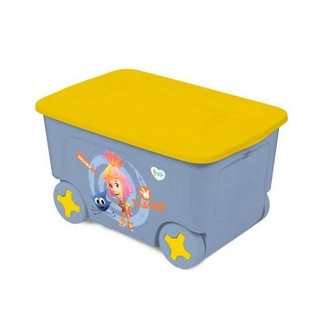 Детский ящик для хранения игрушек ФИКСИКИ СИМКА на колесах, 50 л