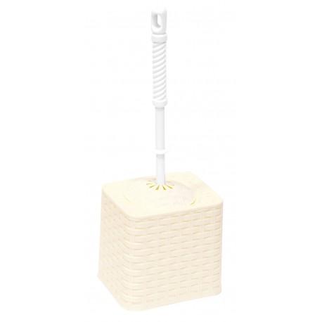 Набор для WC (ёрш+подставка) квадратный Ротанг (слоновая кость)