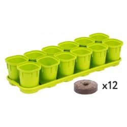 Набор горшков для выращивания рассады InGreen Smart Solution с поддоном и торфяными таблетками12x200