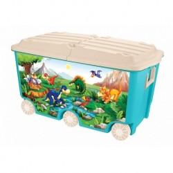 Ящик для игрушек на колесах с декором, 66,5л, 685х395х385мм