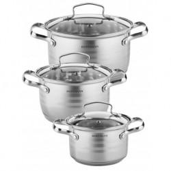 Набор посуды 6пр., нерж. сталь 0,5 мм: кастрюли 3 шт. - 2,1 л. (16 см), 3,1 л. (18 см), 4,1 л. (20 см).