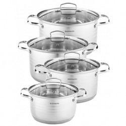 Набор посуды 8пр., нерж. сталь 0,5 мм: кастрюли 4 шт, 4,1 л. (20 см), 5,1 л. (22 см), 6,5 л. (24 см).,8,0 л. (26 см)
