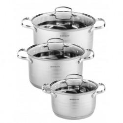 Набор посуды 6пр., нерж. сталь 0,6 мм: кастрюль 3 шт. - 3,0 л. (18 см), 5,1 л. (22 см), 6,5 л. (24 см