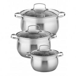 Набор посуды 6пр., нерж. сталь 0,6 мм:, кастрюль 3 шт.-5,1 л (22см), 6,5 л (24см), 7,9 л (26 см)