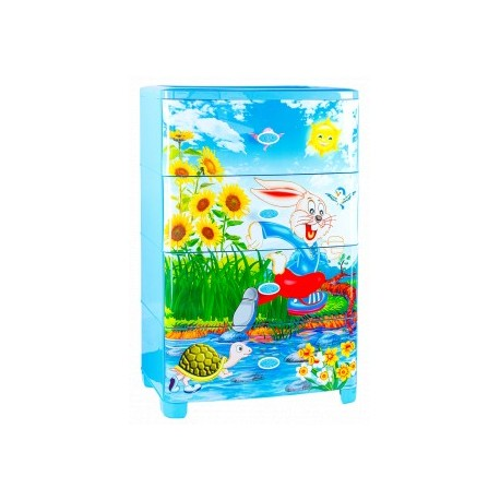 Комод широкий детский Веселый кролик голубой 555х435х895мм